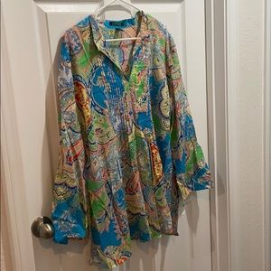 Ralph Lauren brightly colored tunic style blouse